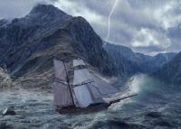 Un vieux bateau à voiles pris dans une tempête