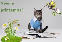 """Photo d'un chat intégré dans un décor contenant des oiseaux et de la verdure. """"Vive le printemps"""" écrit en vert"""