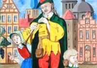 Un joueur de flûte accompagné d'enfants devant des bâtiments à l'architecture flamande