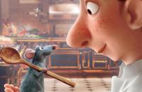 Dessin tiré du film ratatouille représentant un rat avec une cuillère et un visage de cuistot se faisant face