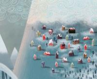 dessin de petites maison colorées dans un paysage de neige
