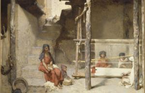 Tableau de René-Gabriel Ojéda représentant une mère et son enfant dans une rue en Algérie