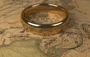 Anneau du seigneur des anneaux posé sur une carte