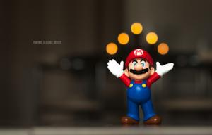 Mario qui jongle avec des balles jaunes