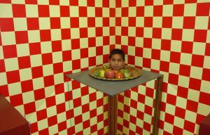 la tête d'un enfant est posée sur un plateau comme si elle était coupée. Le fond de la photo est rouge et blanc à carreaux