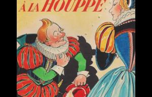 """Illustration issue d'une édition ancienne du conte """"Riquet à la houppe"""". Elle représente un personnage roux (riquet à la houppe) saluant une dame."""
