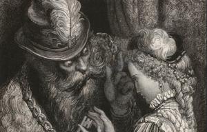 barbe bleue qui regarde sa femme d'un air menaçant