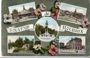 """Carte postale fantaisie """"Souvenir de Roubaix"""""""