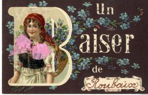 """Vielle carte postale de Roubaix """"un baiser de roubaix"""" datant de 1911"""