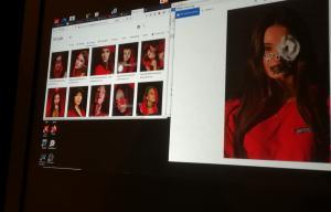 Une photo d'un écran avec plusieurs photos de la même personne dessus