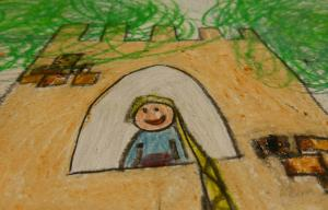 Dessin d'enfant représentant une princesse à longue chevelure