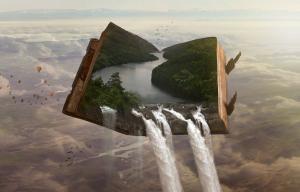 Paysage imaginaire avec un gros livre qui abrite un paysage d'où une cascade coule dans le vide