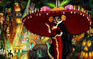jeune femme avec un chapeau mexicain entourée de lumières très colorées