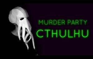 """Dessin représentant une tête recouverte d'une pieuvre, avec une inscription en lettres verte indiquant """"Murder party CTHULHU"""""""