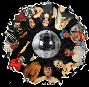 """Illustration représentant un cercle avec au centre une boule à facette et autour, différents personnages illustrant différents types de musiques inscrits en texte -  """"Préhistoire, métal, country, hip hop, disco""""..."""