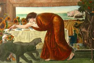 Tableau ancien représentant un personnage (Circée?) penché sur deux chiens.