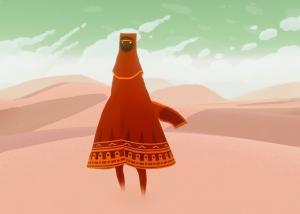 Un personnage de jeux vidéo de couleur rouge et à l'apparence d'un monstre gentil se tient devant un paysage aux couleurs pastel
