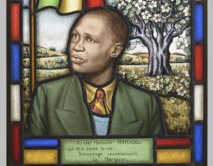 Portrait sur vitrail de Mamadou N'Diaye