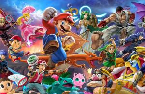 Image illustrée des personnages de smash bros ultimate, dont mario en grand au centre