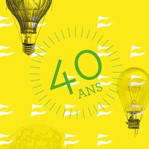 """Illustration représentant deux mongolfières dont une a le ballon remplacé par une ampoule et """"40 ans"""" inscrit en grand au centre"""